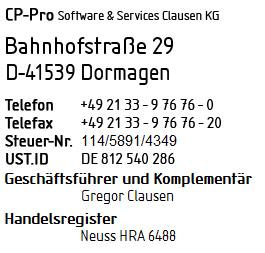 Die Adresse der Firma CP-Pro